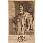 "Rare 1657 Print of Cæcilius Calvert ""The Lord Baltimore,"" by Blotling"