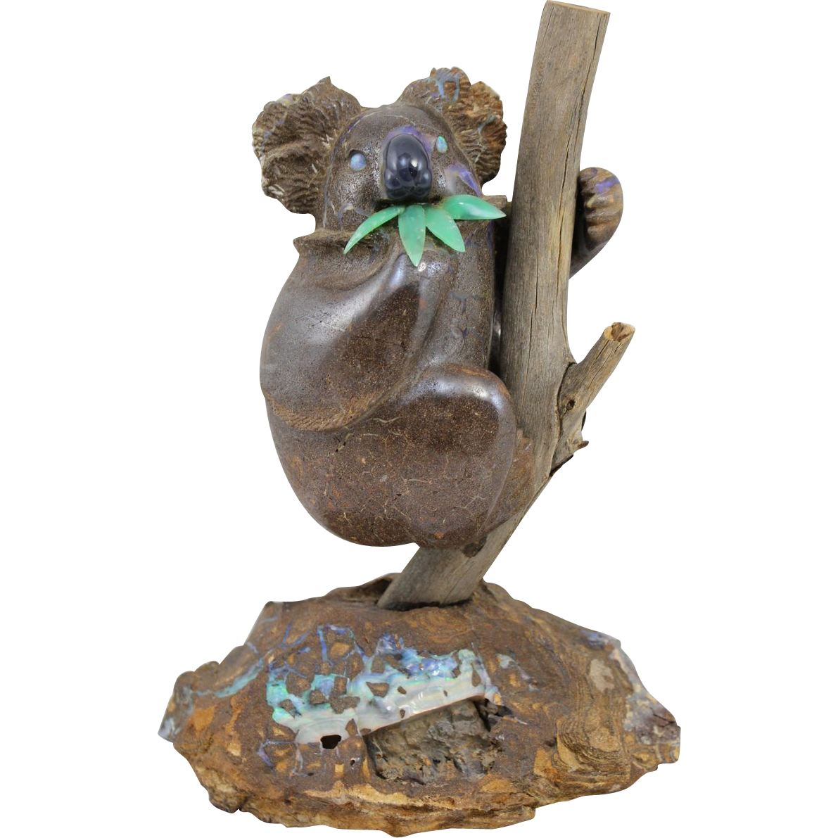 Th c australian boulder opal carved sculpture of a koala