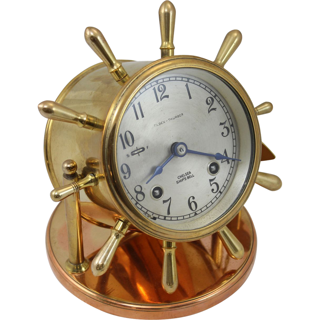 20th c Brass Chelsea Ship's Bell Clock