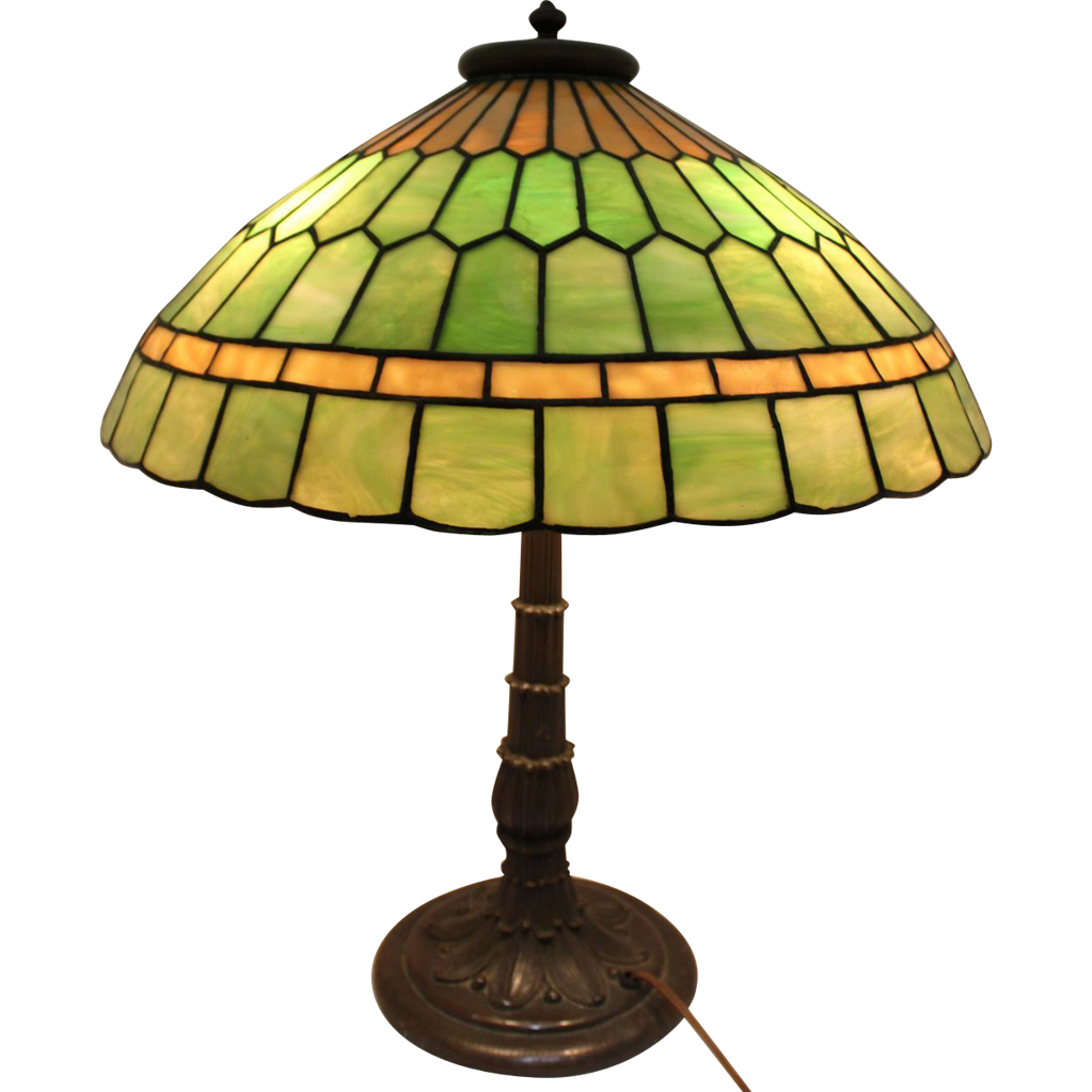 Exquisite Early 20th c Arts & Crafts Leaded Art Glass Table Lamp