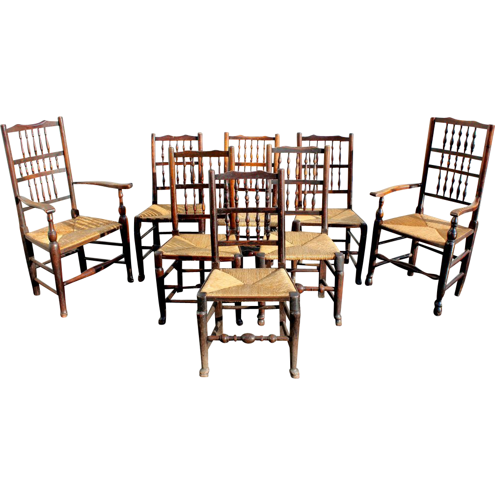 Set of Eight 19th c Elmwood English Country Chairs