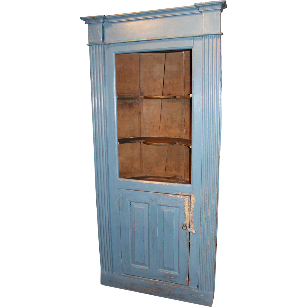 Mid 18th c Massachusetts Barrel Back Cupboard in Blue Paint