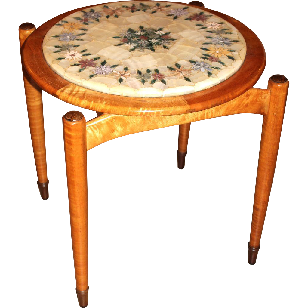 Tia Lake Hawaiian Modern Maple Side Table with Alabaster Top