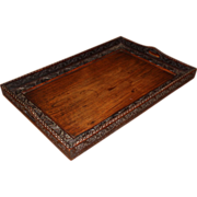 Early 20th c Carved Hardwood Anglo-Indian Butler's Tray