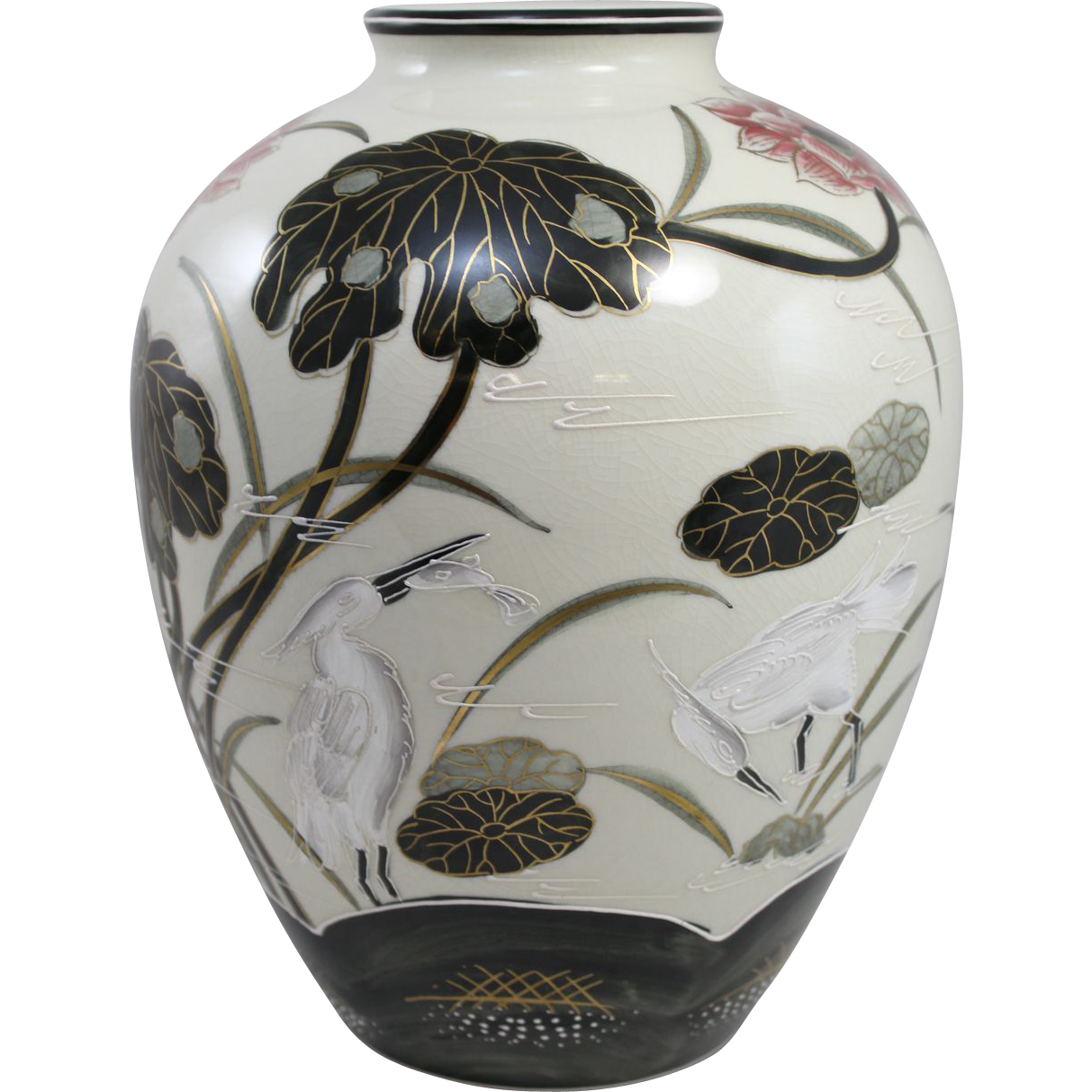 20th c Polychrome Foliate and Bird Decorated Japanese Vase