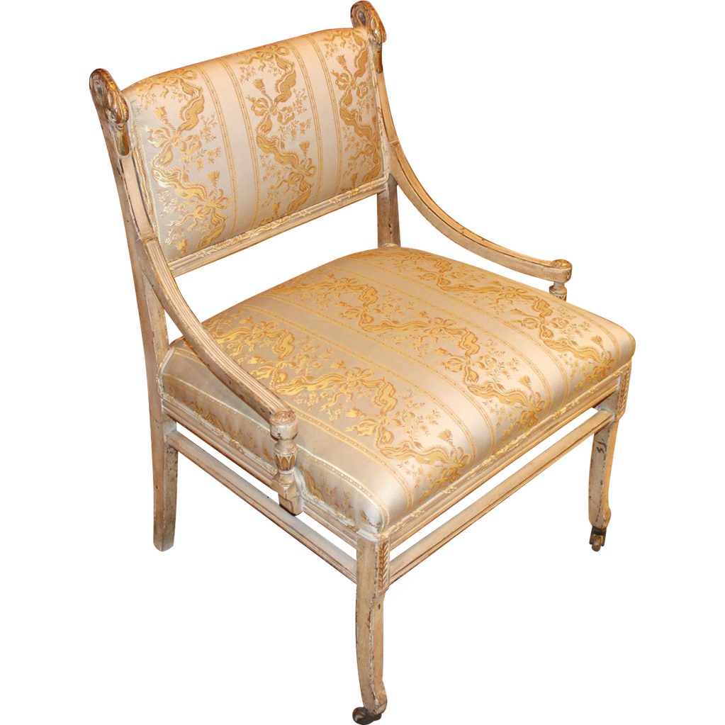 Early 19th c French Style Upholstered Side Chair with Swan Heads