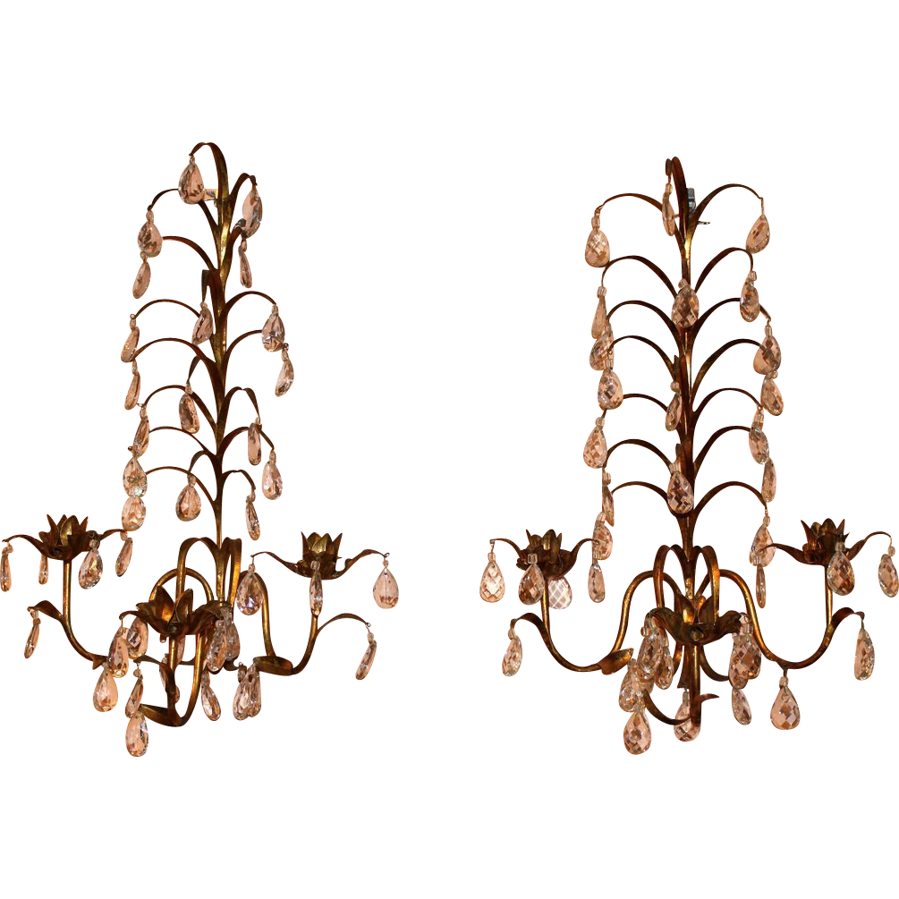 Pair of Italian Mid 20th c Gilt Three Light Sconces
