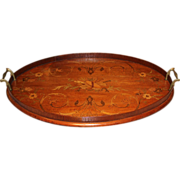 19th c English Mahogany Marquetry Inlaid Oval Tray