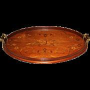 19th c English Mahogany Marquetry Inlaid Oval Tray