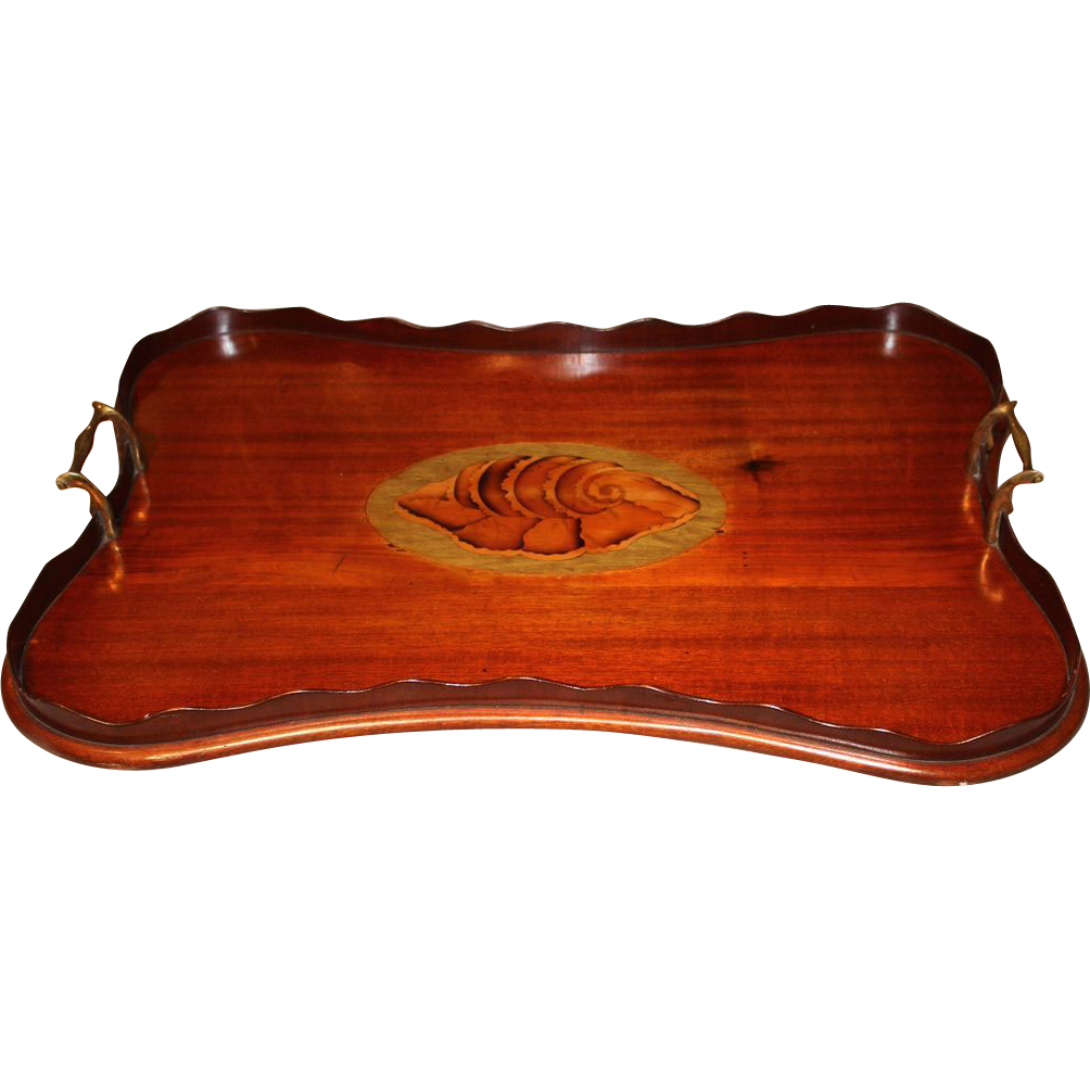 19th c English Mahogany Inlaid Tray with Shell Design