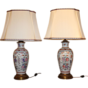 Pair of Samson Style Famille Rose Vase Lamps