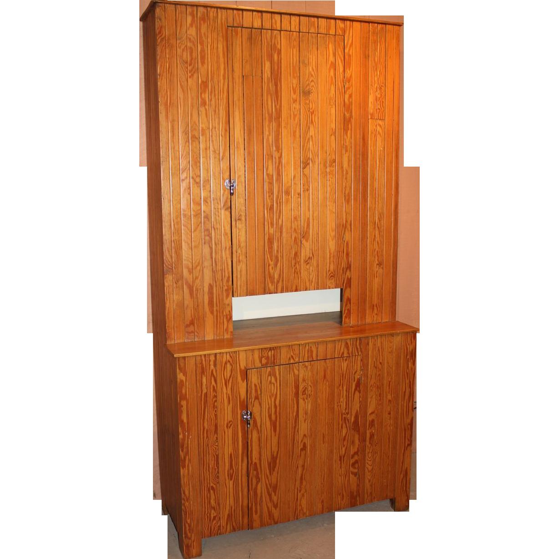 New England Pine Beadboard Stepback Cupboard