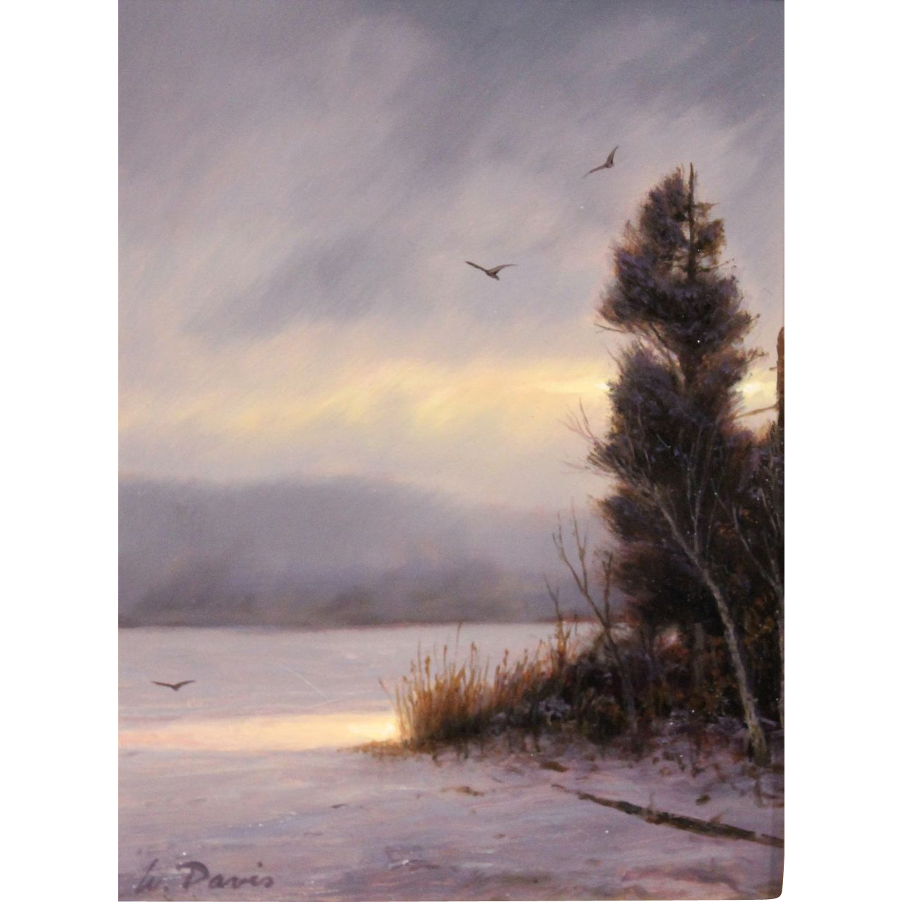 William R. Davis Oil Painting Landscape Winter Storm Break