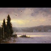 William R. Davis Oil Painting Landscape Winter's Light Show