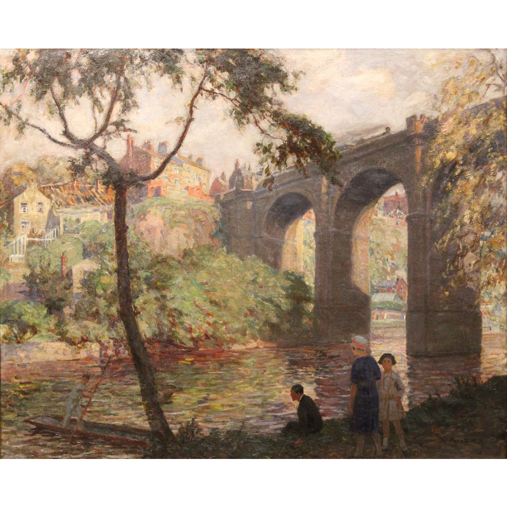 Frederick Stead Oil Painting Landscape with Railroad Bridge & Figures
