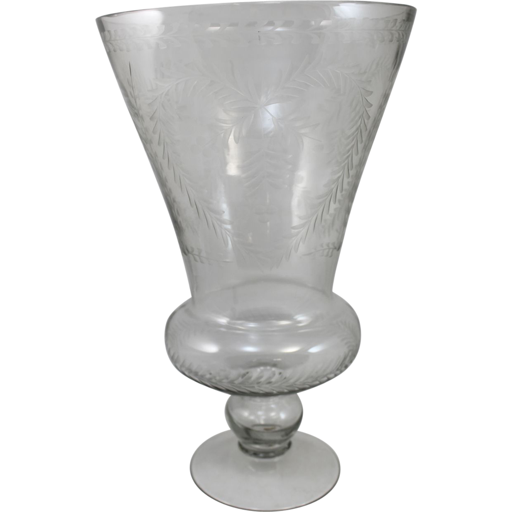 19th c Scottish Wheel Etched Footed Vase with Heart Decoration