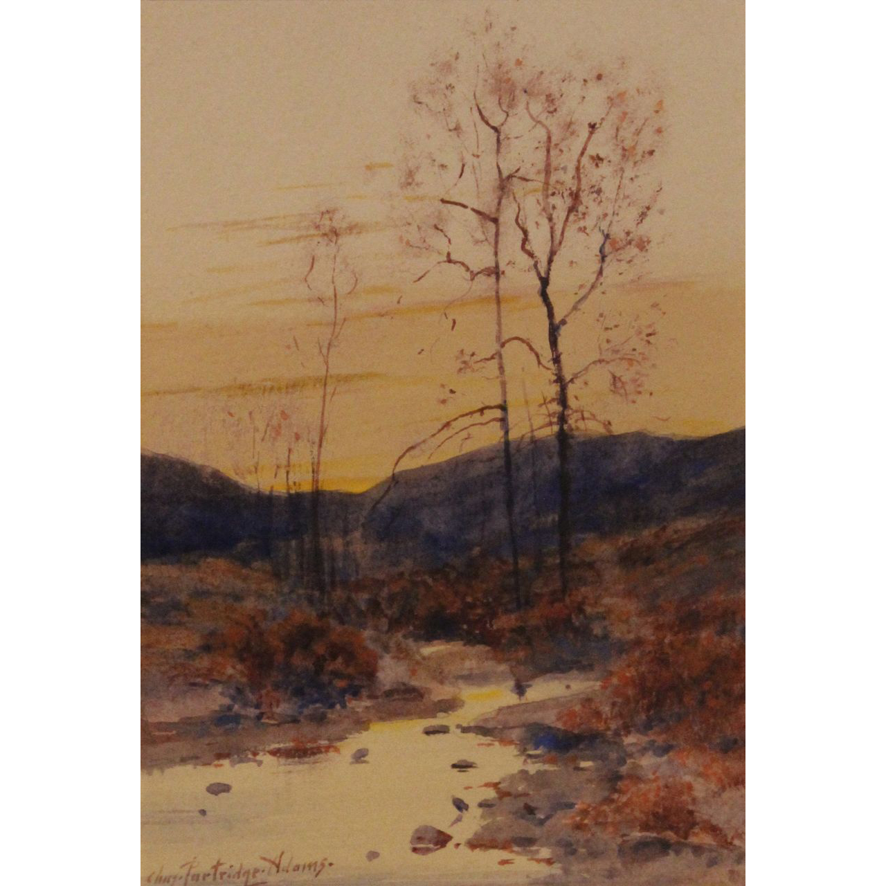 Charles Partridge Adams Watercolor Painting Autumn Twilight Berkshire County Mass