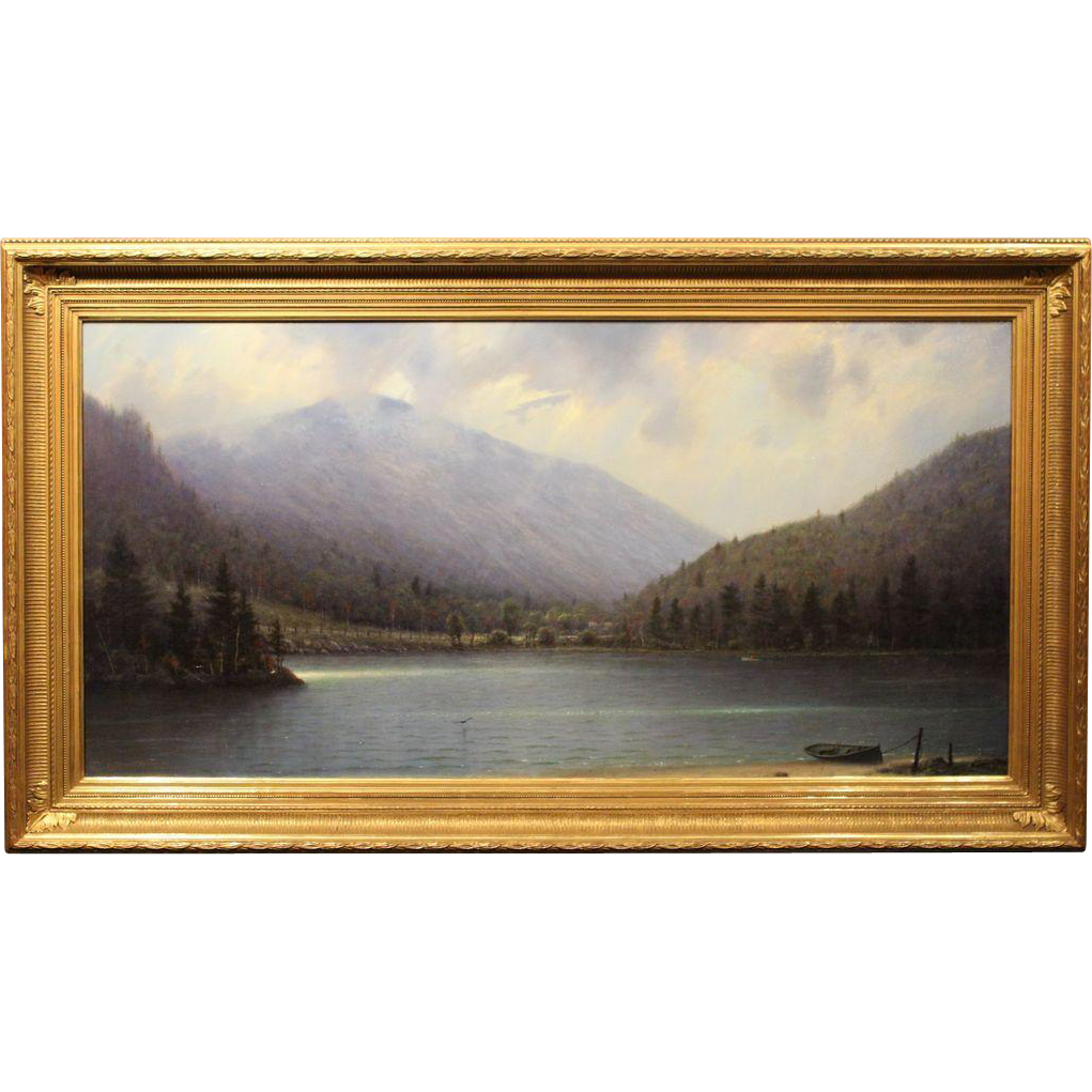 William R. Davis Oil Painting Clearing Storm, Echo Lake, Franconia, NH