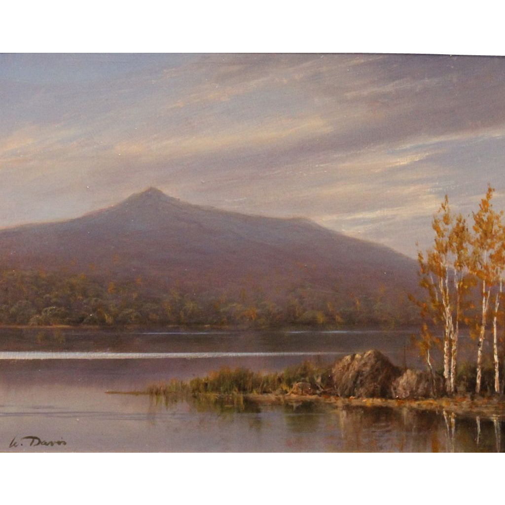William R. Davis White Mountain Oil Painting Chocorua Reflections