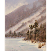 William R. Davis White Mountain Oil Painting View Toward Cannon Mt From Echo Lake