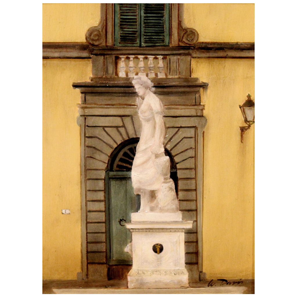 William R. Davis Oil Painting Water Fountain in Piazza San Salvatore Lucca Tuscany Italy