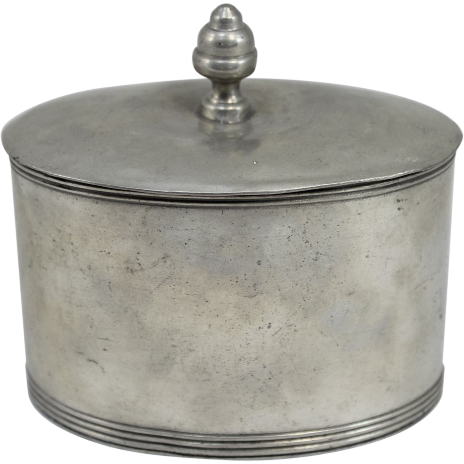 Late 18th c George III Pewter Knopped Oval Tobacco Jar with Presser