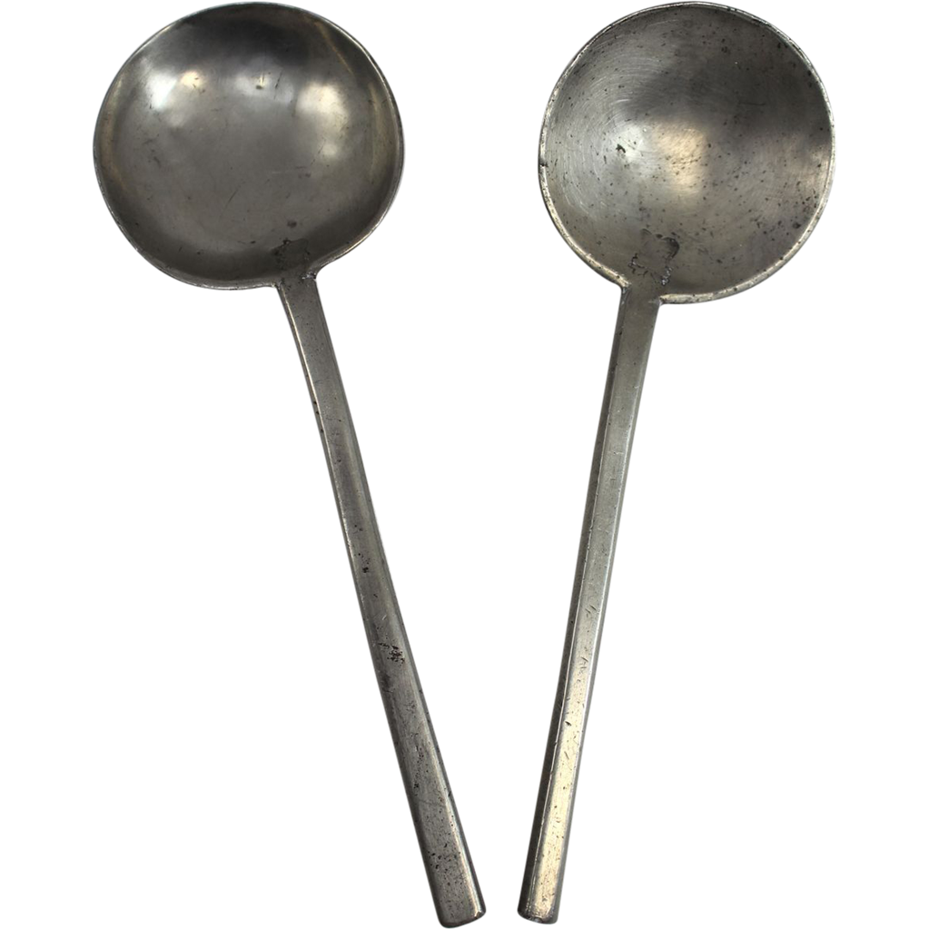 Pair of Early 19th c Pewter Dutch Spoons