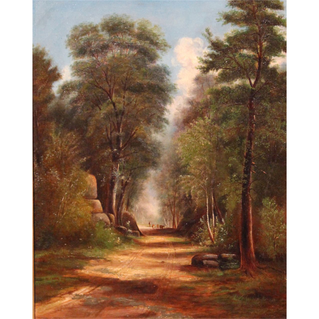 Benjamin Crackbone Champney Oil Painting Landscape Road Through the Woods