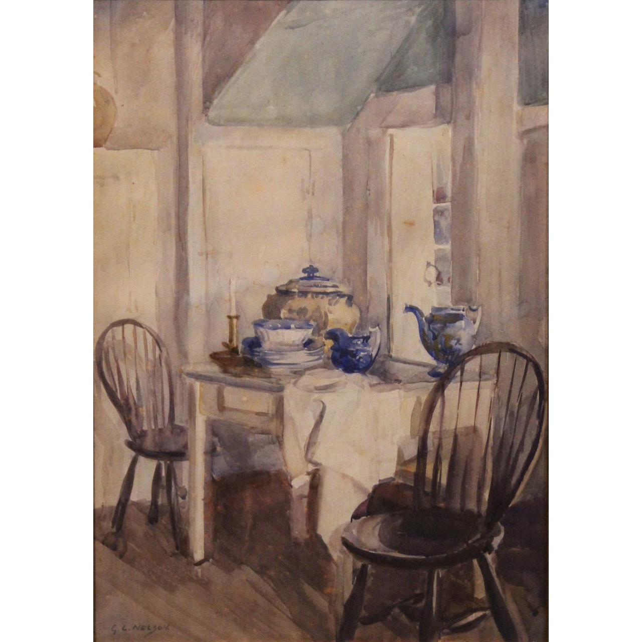 George Laurence Nelson Interior Watercolor Painting New England Kitchen