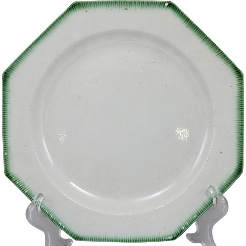 E 19th c English Leeds Feather Edge Octagonal Creamware Plate