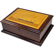 19th c Mahogany Inlaid Keepsake Box with Three Masted Sailing Ship