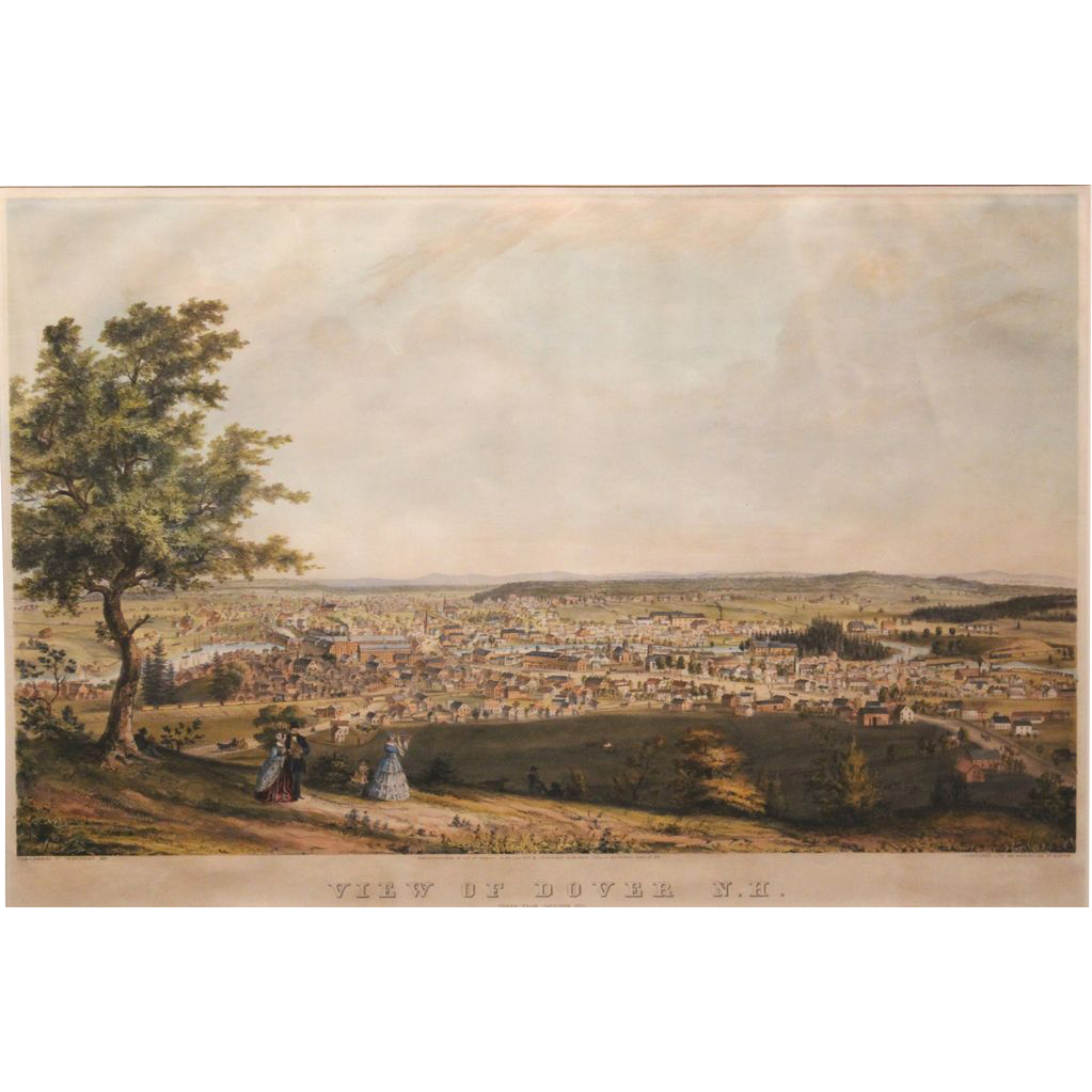 Rare Hand Colored Print  - View of Dover, NH Taken from Garrison Hill 1855