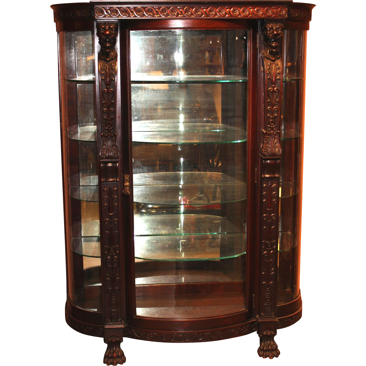Late 19th c R.J. Horner & Co Carved Mahogany China Cabinet