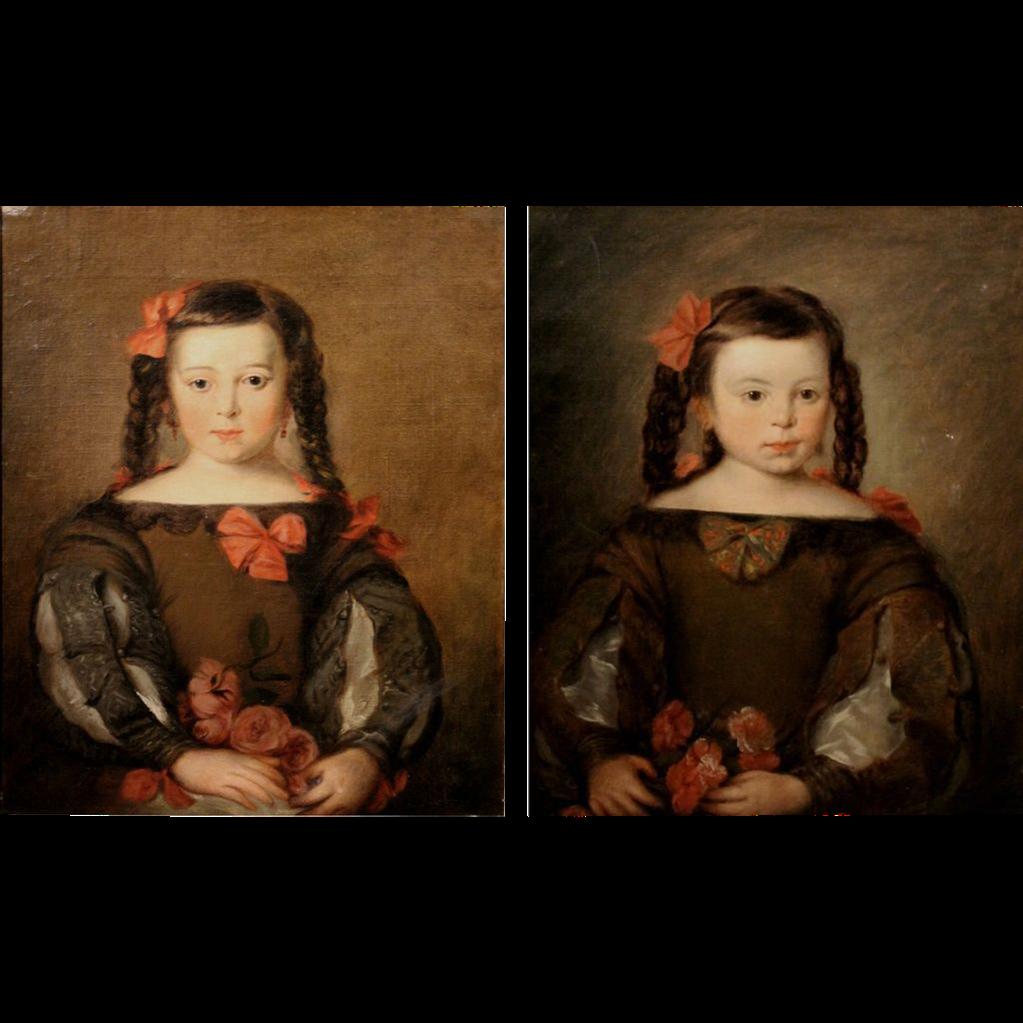 19th c Pair of Portraits - Frances Elizabeth Appleton and Her Older Sister Mary Appleton