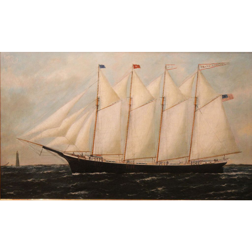 William Pierce Stubbs Marine Oil Painting of Schooner Clara Goodwin