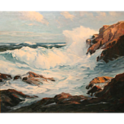Roger Curtis Oil Painting Seascape Surf and Rocks