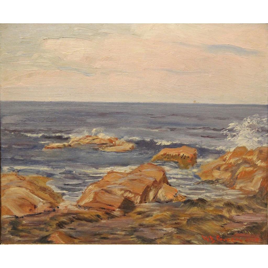 William Bradford Green Oil Painting Coastal View 1915