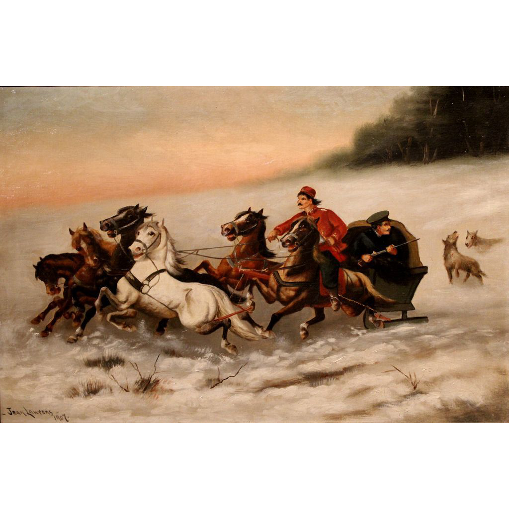 Jean Laurens Oil Painting Winter Six Horse Sleigh Russian Courier