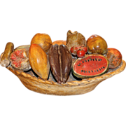 Folk Art Plaster Bowl of Fruit Centerpiece, circa 1940