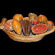 Folk Art Plaster Bowl of Fruit Centerpiece, circa 1940