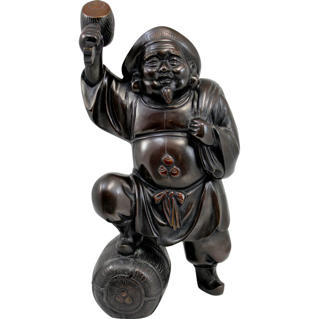 Japanese Bronze Daikoku Figure with Food Basket and Sack