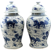 Pair of 20th c Chinese Blue & White Porcelain Covered Jars