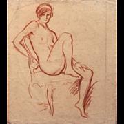 Albert Edward Sterner Conte Crayon Sketch of a Nude Woman 1913