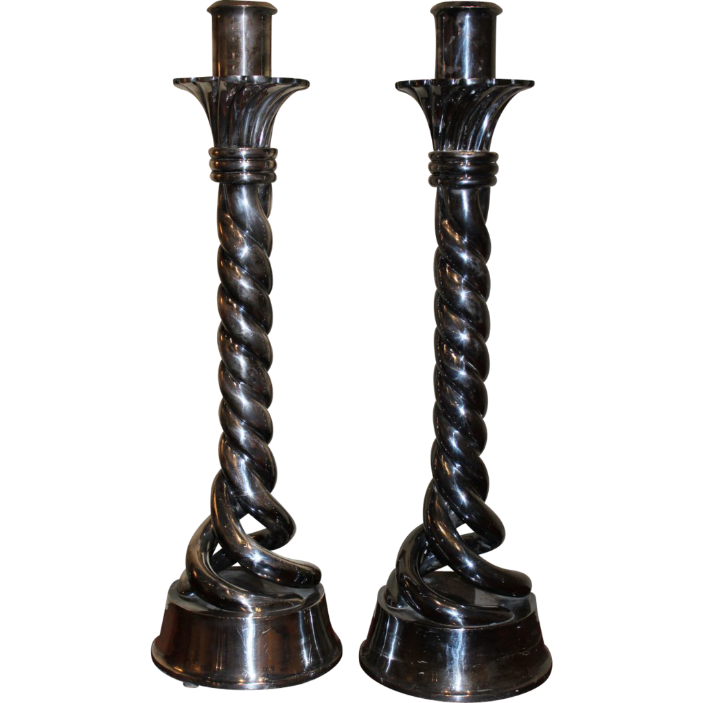 Large Pair of Silvered Bronze Barley Twist Candlesticks