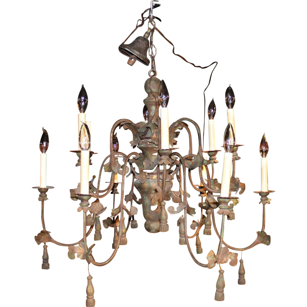Continental / Italian Style Polychrome  12-Light Chandelier