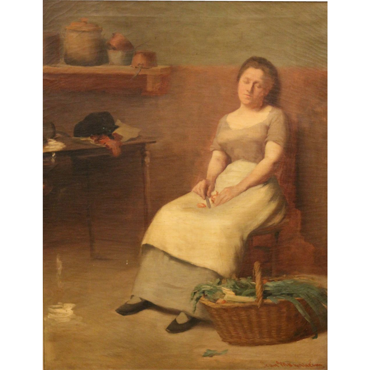 Jean Mannheim Interior Oil Painting - Woman in Kitchen