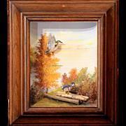 Framed Sporting Diorama of Wood Ducks by Runar G. Rodell circa 1965