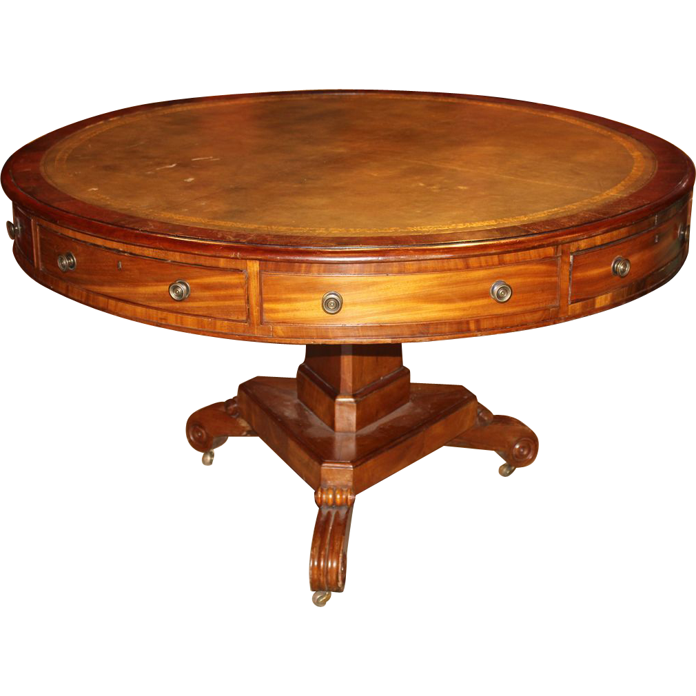English Regency Mahogany Leather Top Rent Table circa 1820