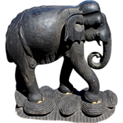 Large Ebonized Carved Wooden Elephant