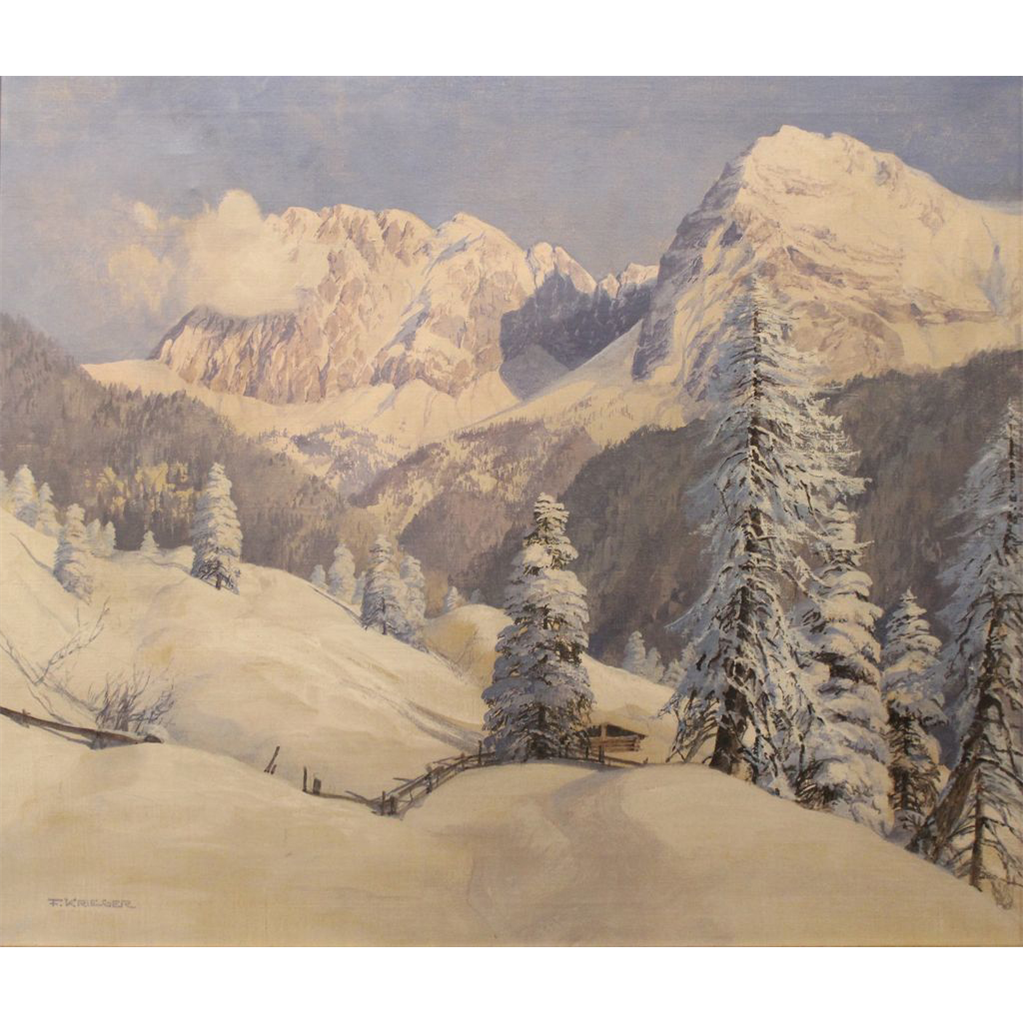 F. Krieger Oil Painting Alpine Winter Mountain Landscape